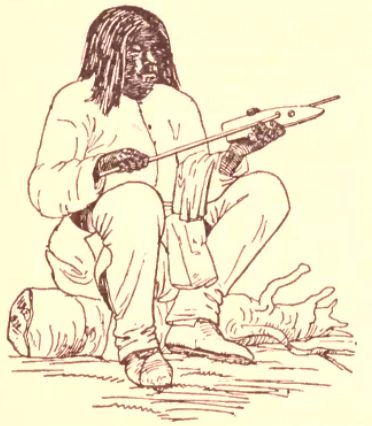 Picture Of A Shoshone Man Using An Arrow Shaft Straightener